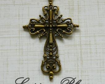 17-10-B Large Cross Pendant Charm Filigree Detail Antique Bronze Finish 3 pcs 60x40mm  Lead Free Pewter