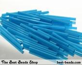 15g (70pcs) Silky Light Blue Bugle Beads 30mm Czech Glass Seed Beads