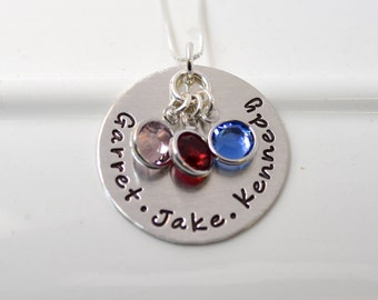 Personalized Mother Necklace | Hand Stamped Sterling Silver Mommy Necklace with Children's Names and Birthstones