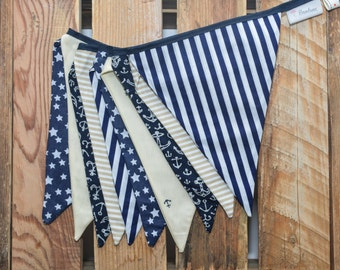 Fabric Bunting Banner, Baby Shower Decorations for Baby Boy, Fabric Flag Banner, Nursery Decor, Shower Party Décor, Birthday Party Decor