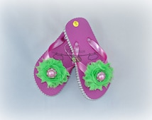 Hot Pink and Lime Shabby Chic Rhinestone Flip Flops for girls, bling button, patriotic shabby flip flops, size S (9-10)