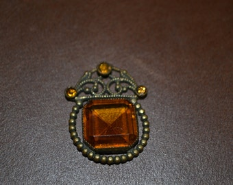 Vintage Smoky Topaz Quartz Fillagree Pendant