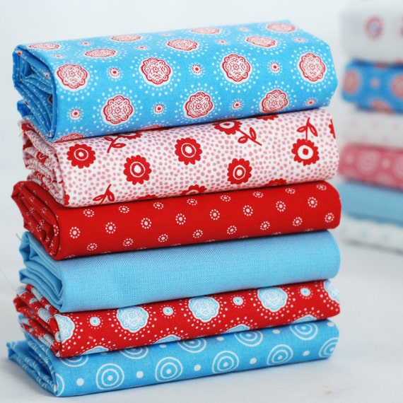 Gypsy Stripe Turquoise Grey Woven Cotton Rug: Fat Quarter Fabric Bundle Turquoise Red White Flowers