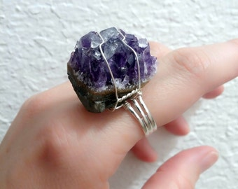 Raw Amethyst cluster adjustable ring unique handmade ring