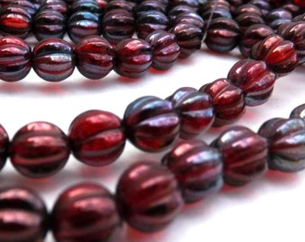 Czech Melon  Bead 8mm  Siam Ruby Vega 25 pieces- full strand.