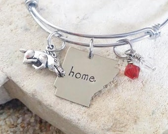 Bangle - Bracelet - Jewelry - Arkansas - Hogs - Razorbacks - Hand Stamped - Woo Pig Sooie - Stamped Jewelry - Gift - Gift for Her - Southern