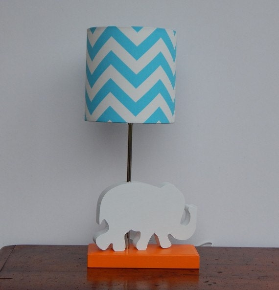 turquoise chevron drum lamp shade nursery girl 39 s or boy 39 s lamp. Black Bedroom Furniture Sets. Home Design Ideas