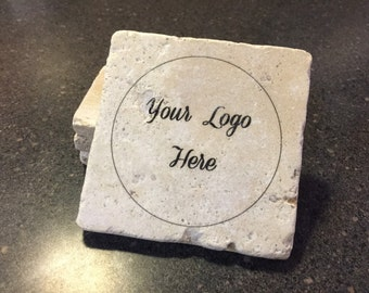 Custom Logo Coasters, Textured Stone Tile, for your Business/Bar/Pub, Gift Set, Set of 4