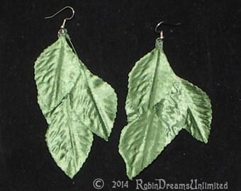 Green Silk Leaf Earrings
