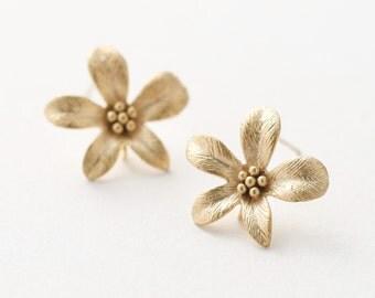 5519014 / Hyacinth / 16k Matt Gold Plated Brass Earring Post 17mm x 16mm / 1.3g / 2pcs