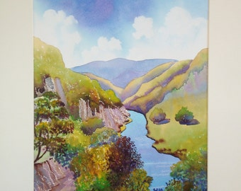 Original Watercolour, Symmonds Yat, The Wye Valley, England, 20ins x 16ins, Mothers Day, Gift Idea, Art and Collectibles, Home and Living