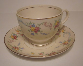 Homer Laughlin Nautilus Eggshell Dubarry Teacup and Saucer