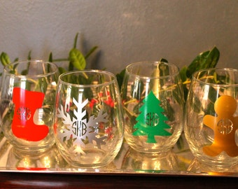 Monogrammed Holiday Stemless Wine Glasses - Snowflake, Christmas Tree, Gingerbread Man, & Stocking With Your Monogram!