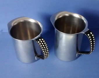 Two Danish Stainless Steel Jugs, Woven Handles, Made in Denmark