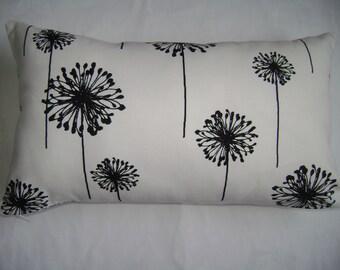 Black Dandelion Pillow Cover, 12''x20'' Lumbar Floral Pillow Cover, Girls Pillow Cover