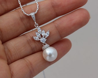 white drop pearl necklace cz pearl necklace bridesmaid necklace