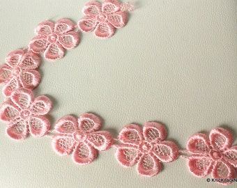 Pink Embroidered Flower Lace Trim Ribbon Approx 45mm wide - 041203L23-1