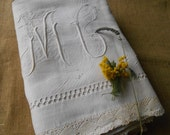 Victorian Flat Sheet White French Linen and Lace Handmade Ladder Work Monogram Medallion Front Embroidered 2 persons Bed Sheet