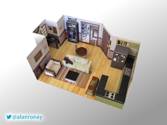 Jerry seinfeld 39 s apartment miniature model by for The model apartment