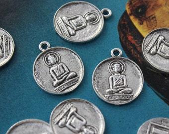 10 Buddha Charms Buddha Pendants Antiqued Silver Tone 18mm