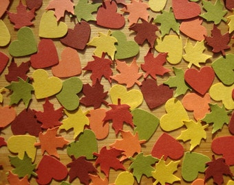 Leaf and Heart Confetti - SALE - Qty: 250 Pieces
