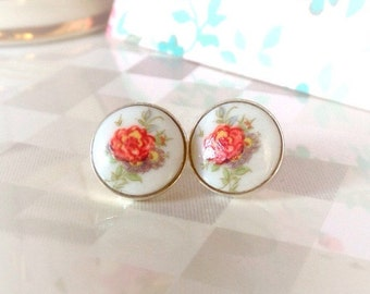 Floral Stud Earrings | Sterling Silver | Flower Earrings | Limoge Cameo | Cute Earrings | Boho Jewelry | Shabby Chic | Red Rose Post Earring