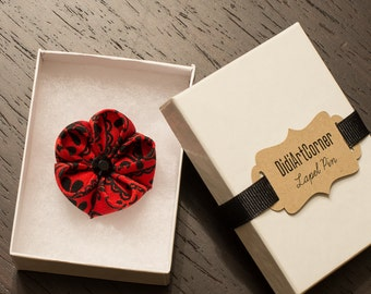 Red and Black Kanzashi Inspired Flower Lapel Pin with Black Crystal / Lapel Flower Pin