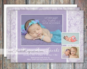 Baby Girl Birth Announcement - Purple Mountains