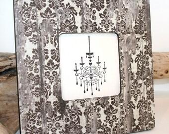 Black and White Weathered wood decor, Shabby chic Picture frame, Damask Photo frame, Decoupaged frame