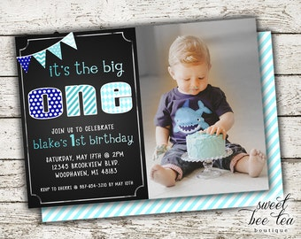 Baby Boys Blue Ombre Photo Birthday Invitation - Printable Party Package Invite - First 1st Birthday One - Chalkboard - Chevron - Picture