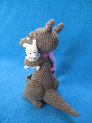Amigurumi Parent And Baby Animals Free Download : Amigurumi Kangaroo Mom And Baby Animal Toy Doll Crochet