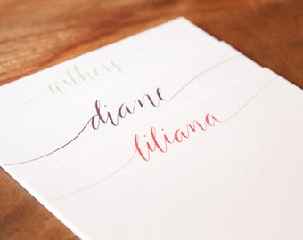 Personalized Calligraphy Flat Notecards (set of 25)