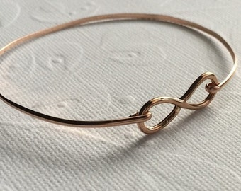 Rose Gold Infinity Bracelet /Sterling Silver  Infinity Bangle / Pink Gold and Silver / Bride/ Wedding Jewelry / Sterling or Rose Gold Bangle