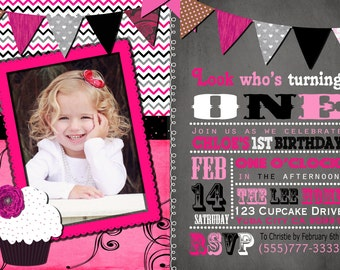 Pink and Black birthday invitation / first birthday / party / invitation