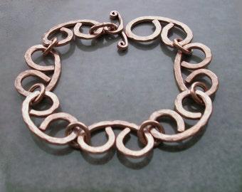 Copper bracelet, copper mens bracelet, men's metal bracelet, copper chain, copper anniversary gift, 7th anniversary, men copper jewelry
