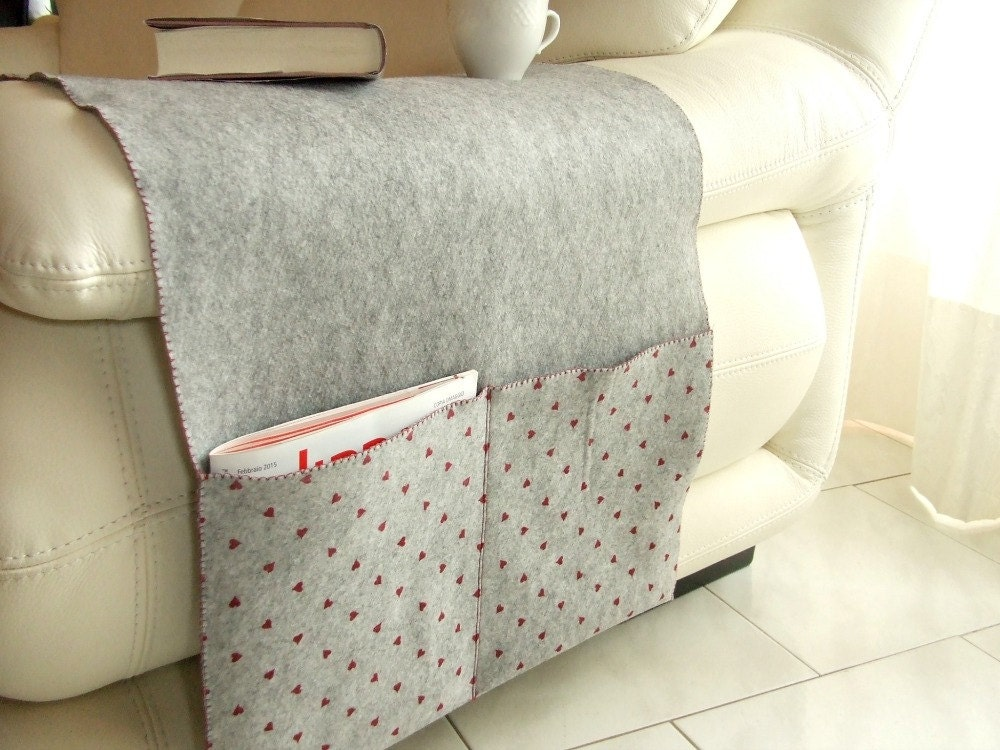 Felt Sofa Armrest Cover Large Pockets Organizer By