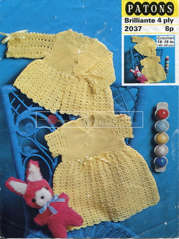 Baby Dress & Jacket 4ply 18-19in Patons 2037 Crochet Pattern PDF instant download