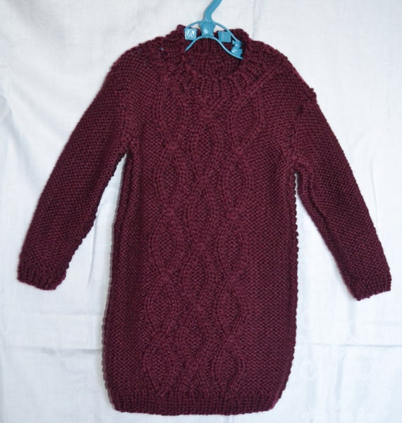 Hand Knitted Baby Cable Sweater Dress Berry Baby Chunky Yarn to fit chest 22ins 2-3 years