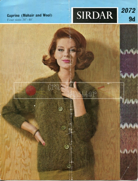 """Lady's Jacket Mohair 34-40"""" Sirdar 2072 Vintage Knitting Pattern PDF instant download"""