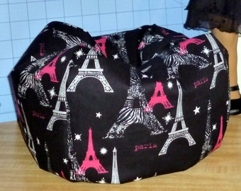 American  Girl doll size bean bag chair in cotton Paris Eiffel Tower theme