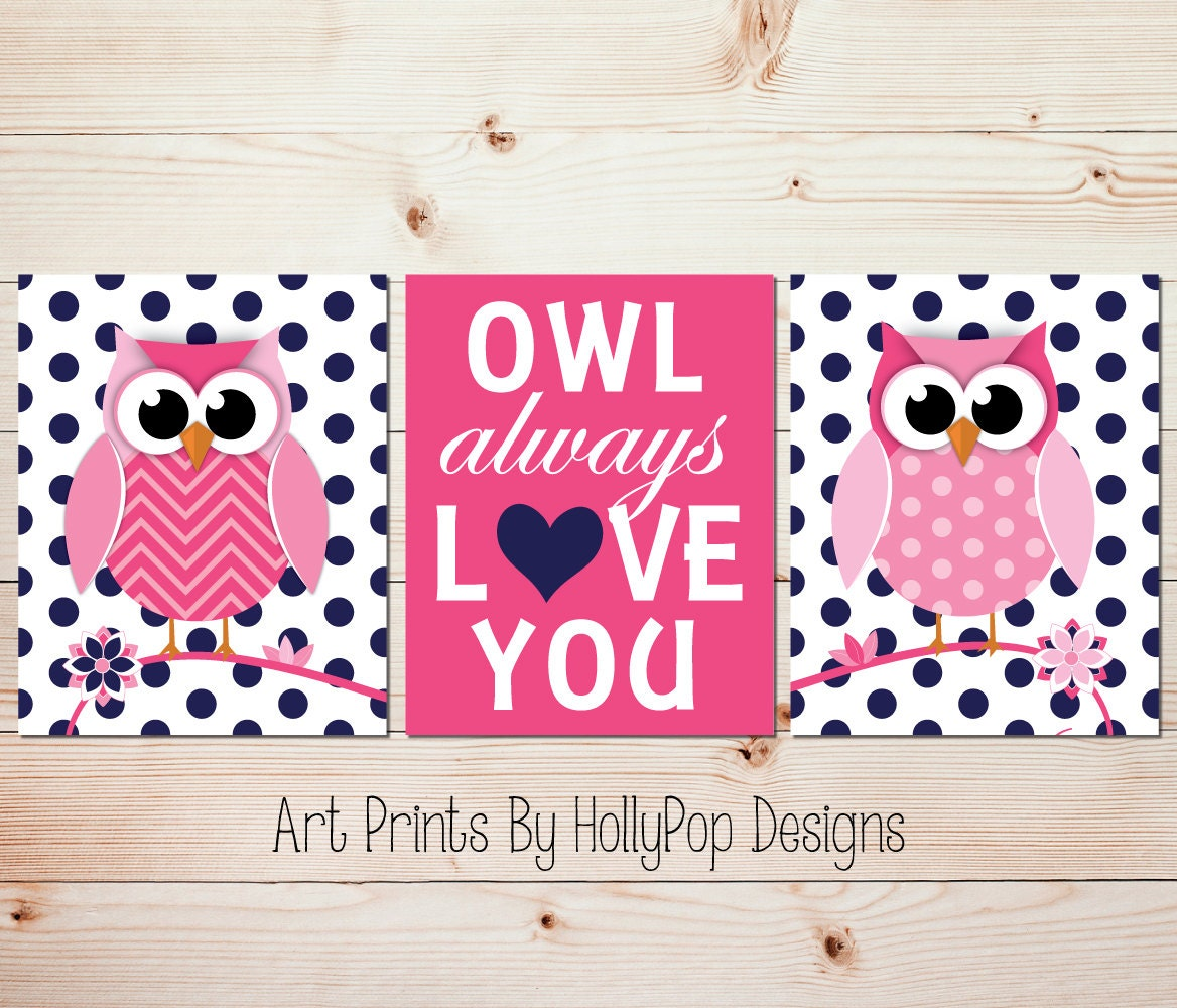 Owl Always Love You Hot Pink Navy Nursery Wall Art Owl Nursery