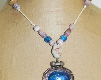 """Made in India Blue Glass Silver Plate Picture Frame Pendant 18"""" Necklace"""