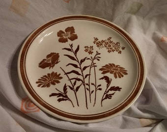 On Sale Jamestown China 10 inch Brown Flower Dinner Plate Vintage Kitchen Serving Dish