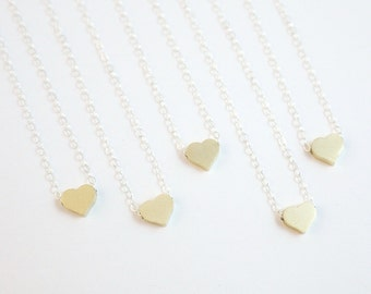 Tiny Heart Two Tone Necklace, Sterling Silver, Gold Filled Necklace, Valentine's Day gift