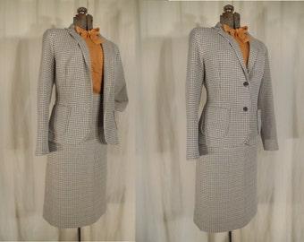 Vintage 1960s Skirt Suit - 60s Blue Yellow XL Skirt Suit, 60s Plus Size Skirt Suit