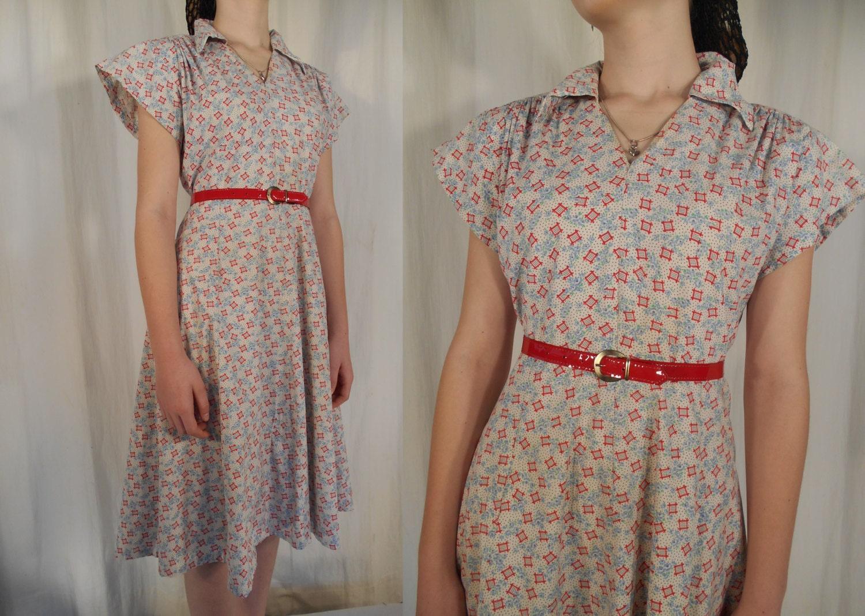 1930s Dress Day Dress Depression Era Dress 1930s Dress