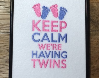 Twin Birth Announcement, Keep Calm We're Having Twins, Baby Announcement, Baby Shower Gift, Nursery Decor, Baby Gift, Twin Gift, Baby Room