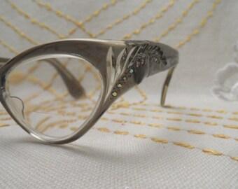 Vintage cats eye eyeglasses with rhinestones / France Swank / small spectacles  Retro Eyewear