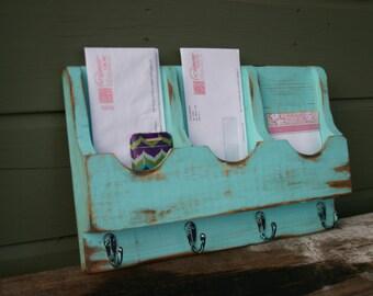 Mail Organizer - Letter Holder - Key Rack - Organizer - wood - Triple 4 hook