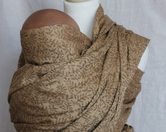 Baby Wrap Sling Carrier, Brown Mustard Sling, Leaf Sling, Linen Cotton blend- Ready to ship